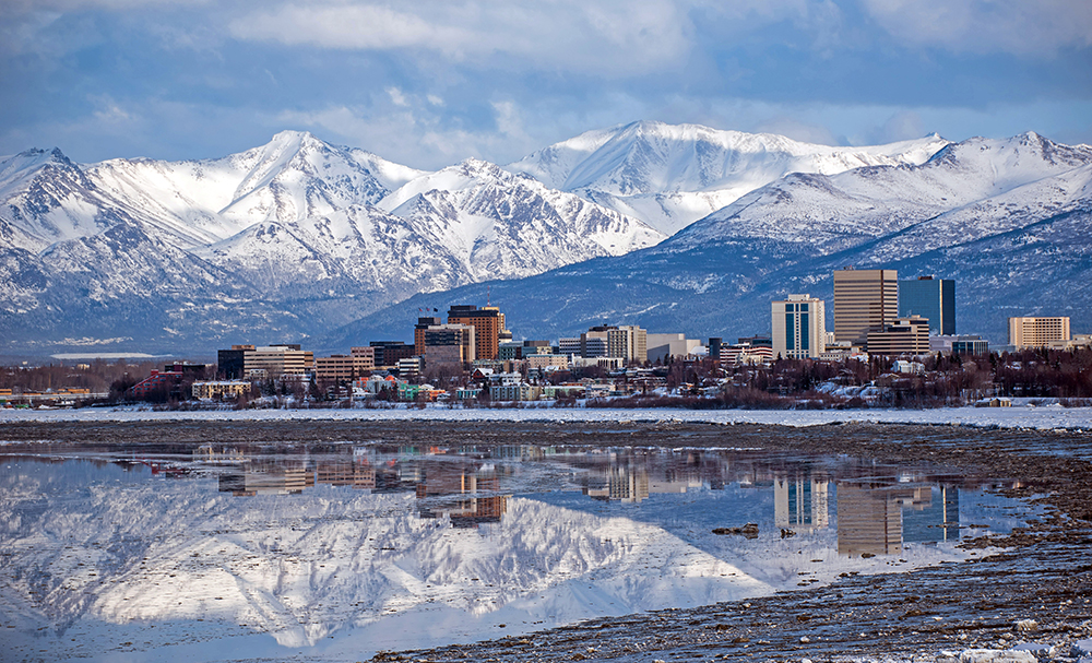 Anchorage Skyline with Reflection.