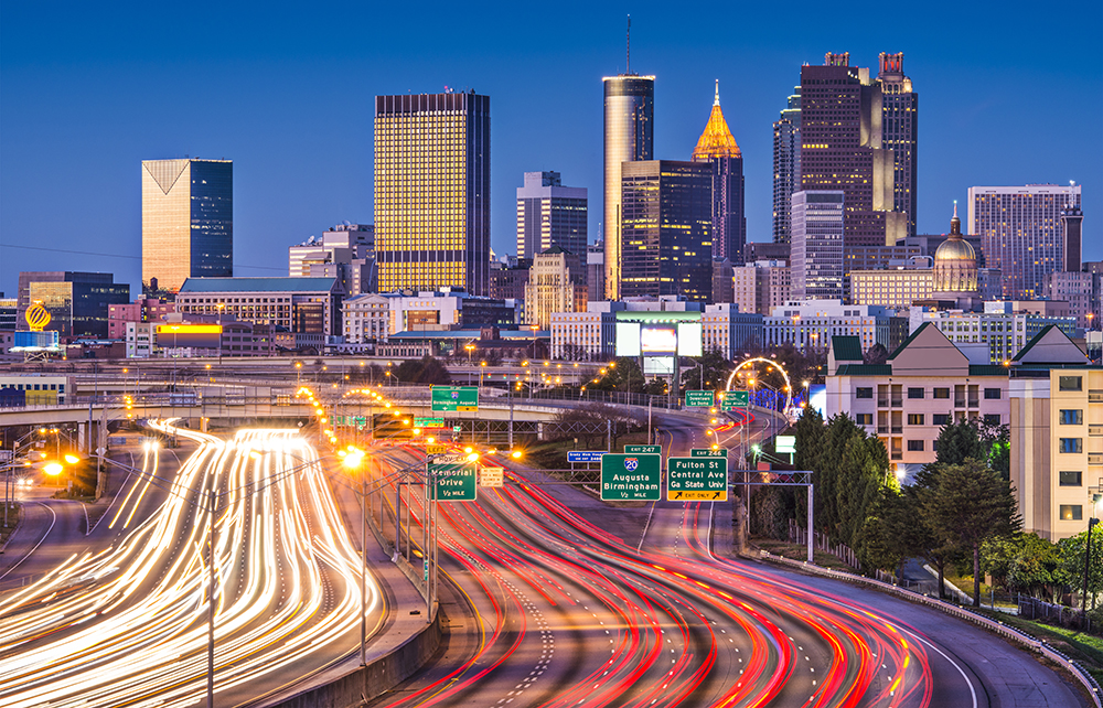 Interstate 75 in Downtown Atlanta at Night.