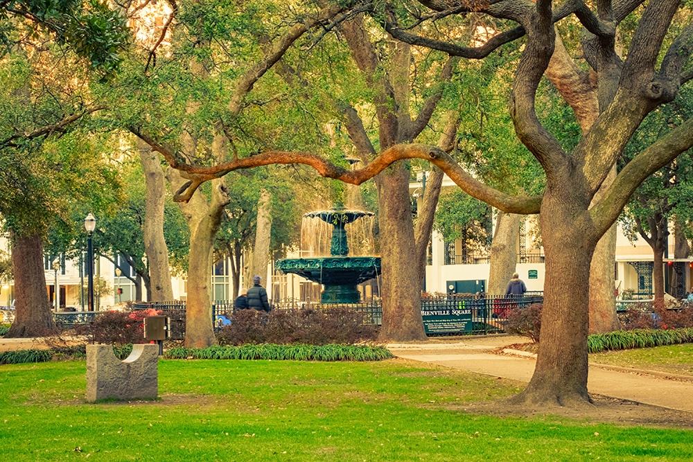 Bienville Square and Park in Downtown Mobile, AL.