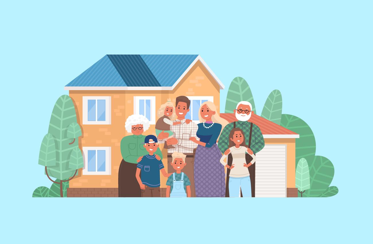 Big family on a big house