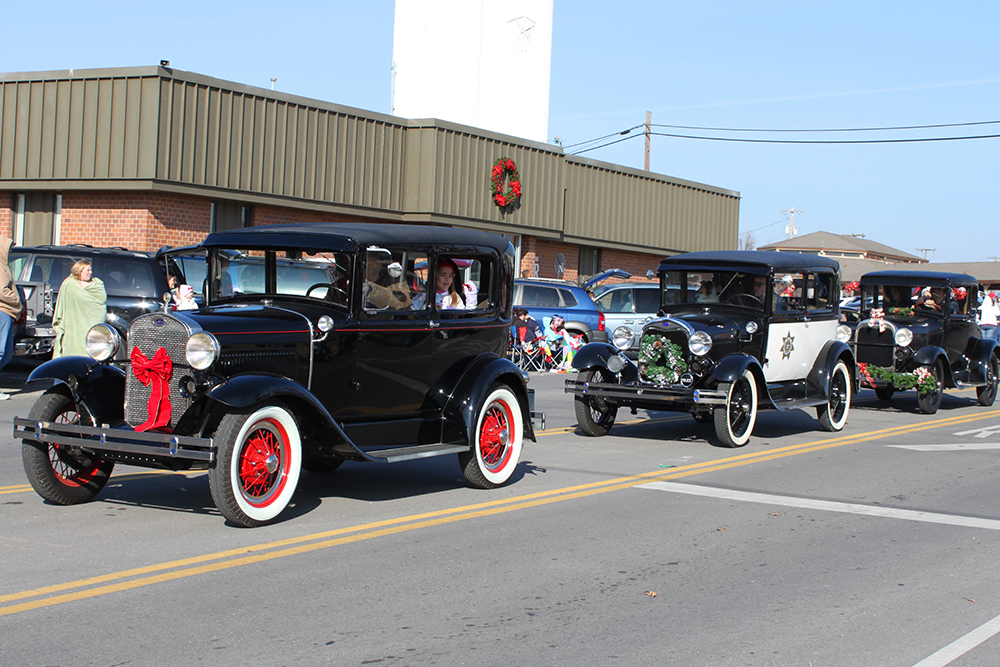 Vintage Cars in the Broken Arrow Christmas Parade.