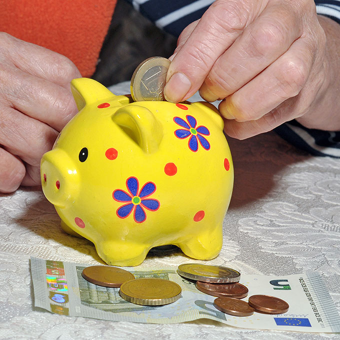 piggy bank being filled