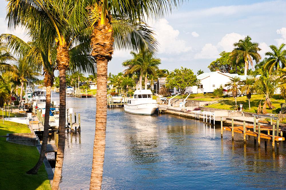 Canal in Cape Coral, FL.