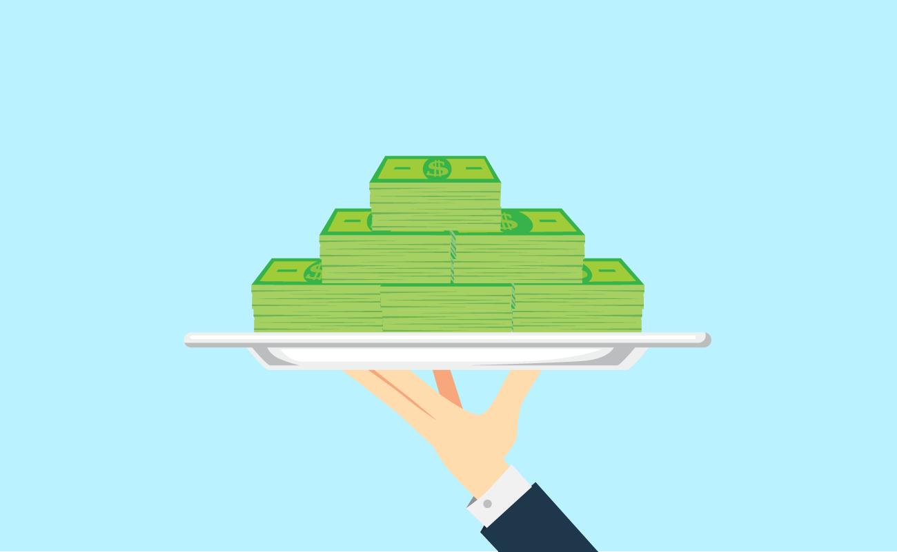 Cash served on a dish platter.