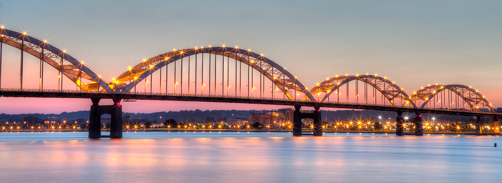 Centennial Bridge Across the Mississippi River, Connecting Rock Island, Illinois and Davenport, Iowa.