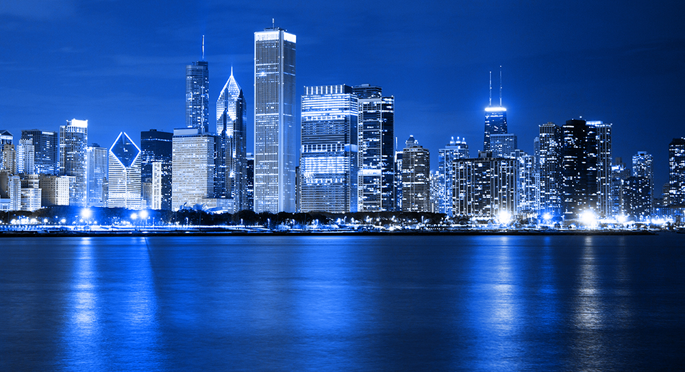 Chicago Financial District Skyline.