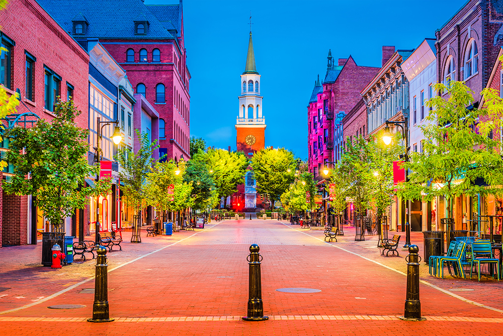 Church Street in Downtown Burlington, Vermont.