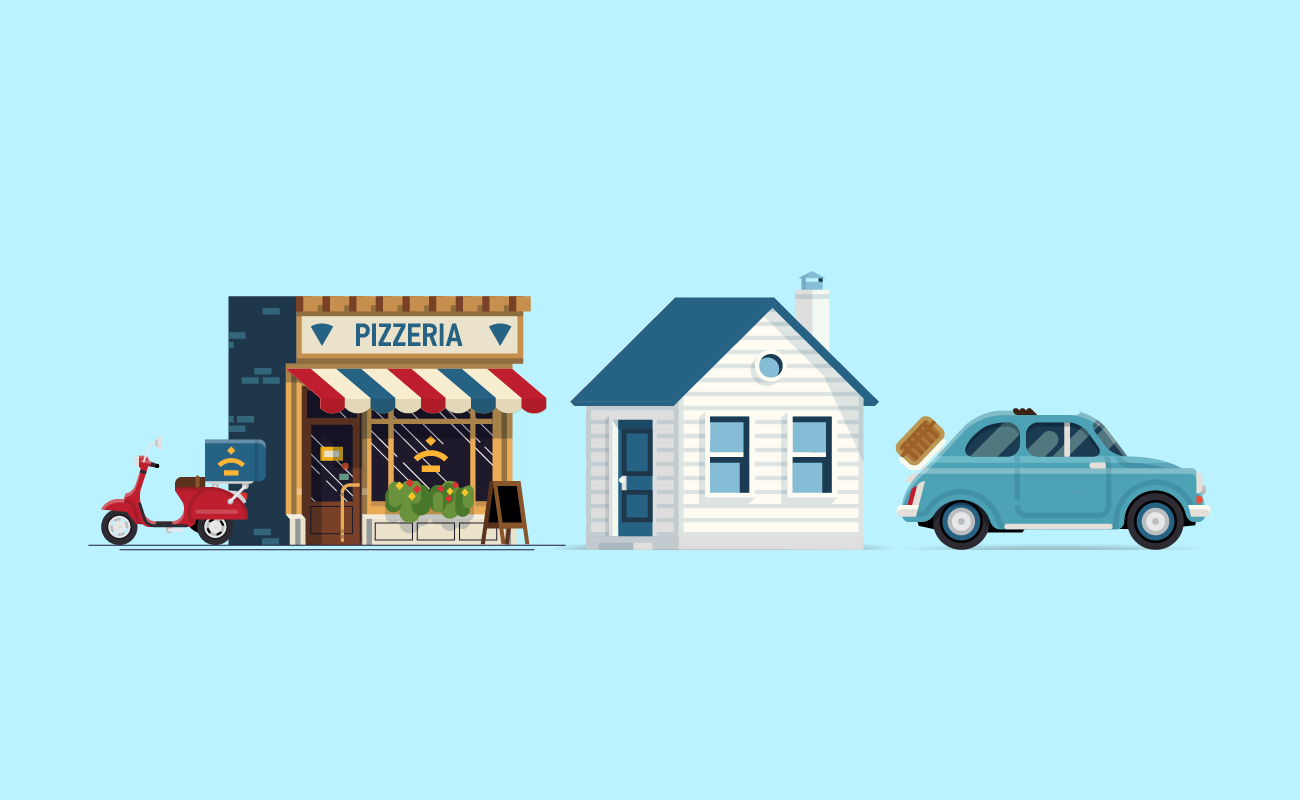 Commercial building, a house and a car.