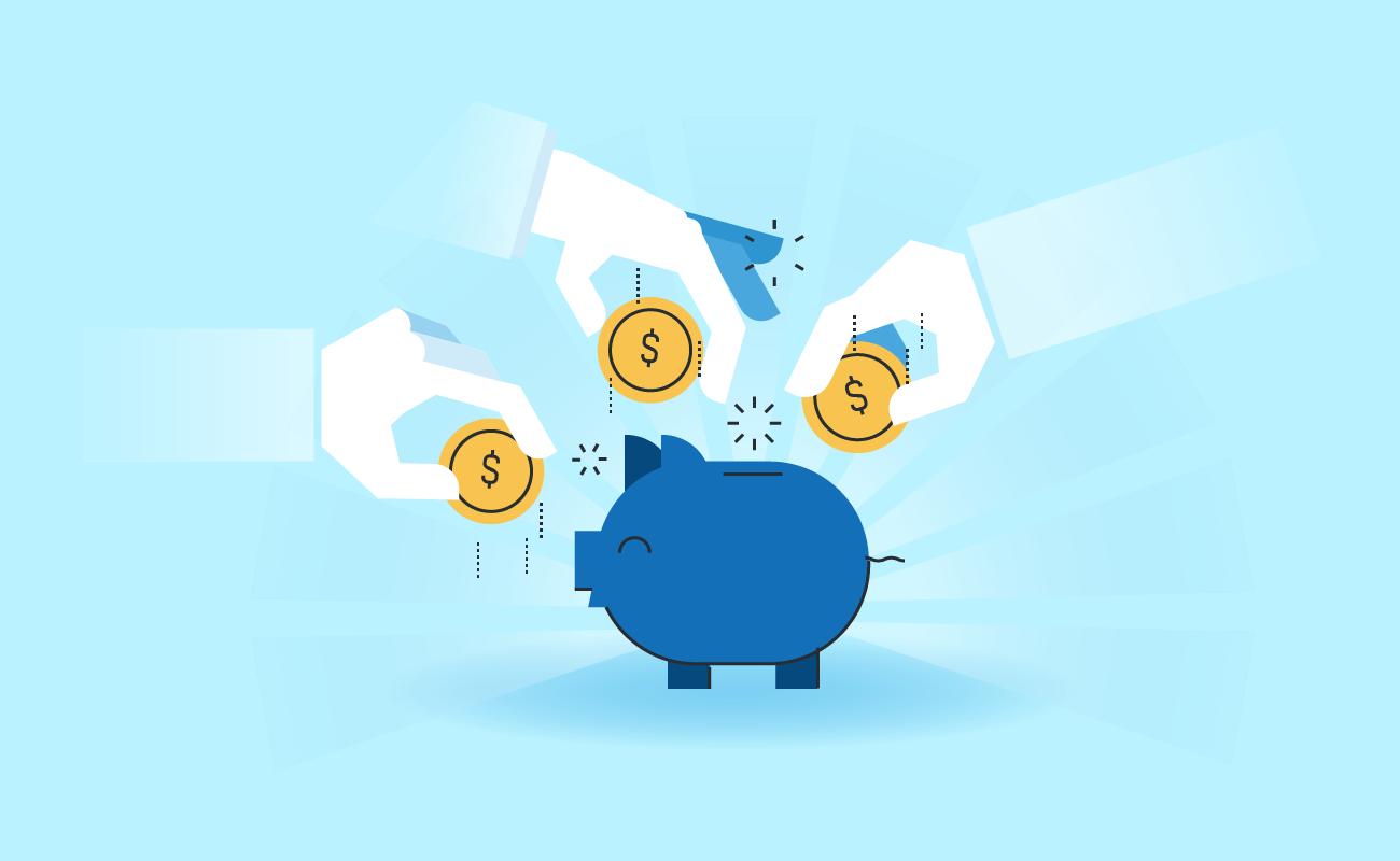 Saving Money With a Piggy Bank.
