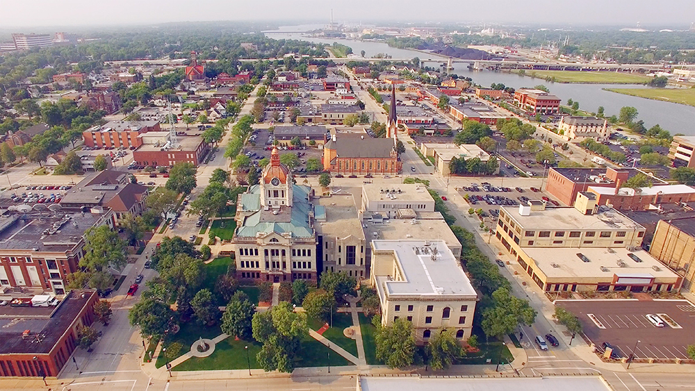 Aerial View of Downtown Green Bay, WI.