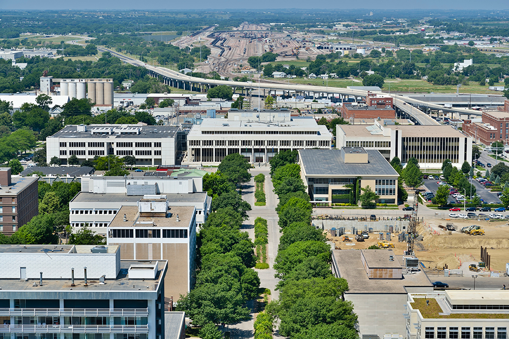 Aerial View of Downtown Lincoln, Nebraska.