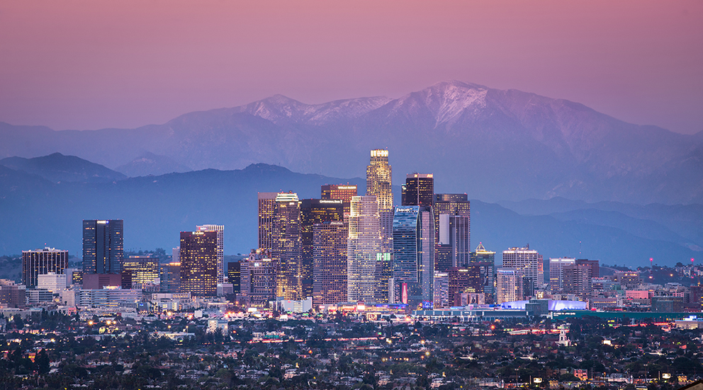 Downtown Los Angeles with Mount Baldy.