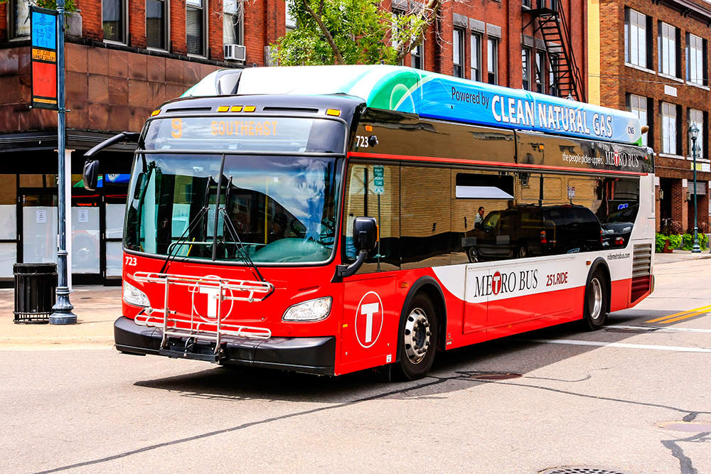 Red Metro Bus in Downtown St. Cloud, MN.