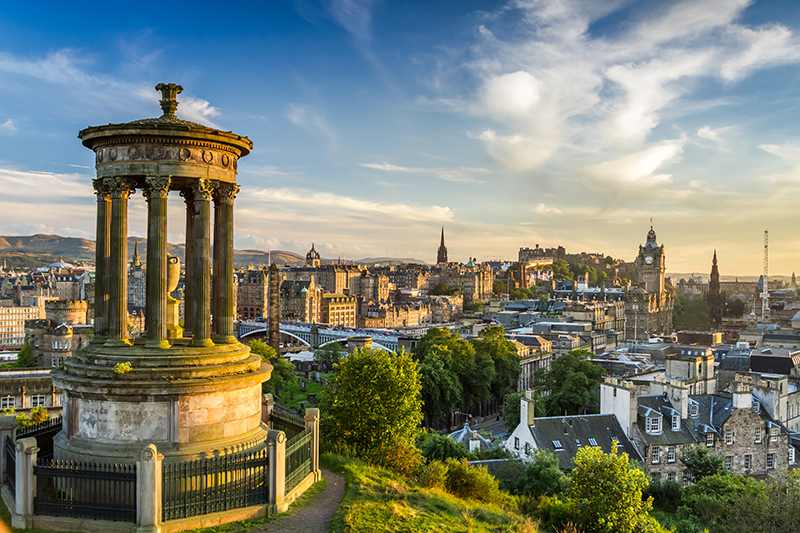 Calton Hill Overlooking Edinburgh Castle.