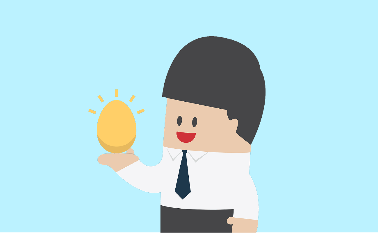 Worker Holding a Golden Egg.