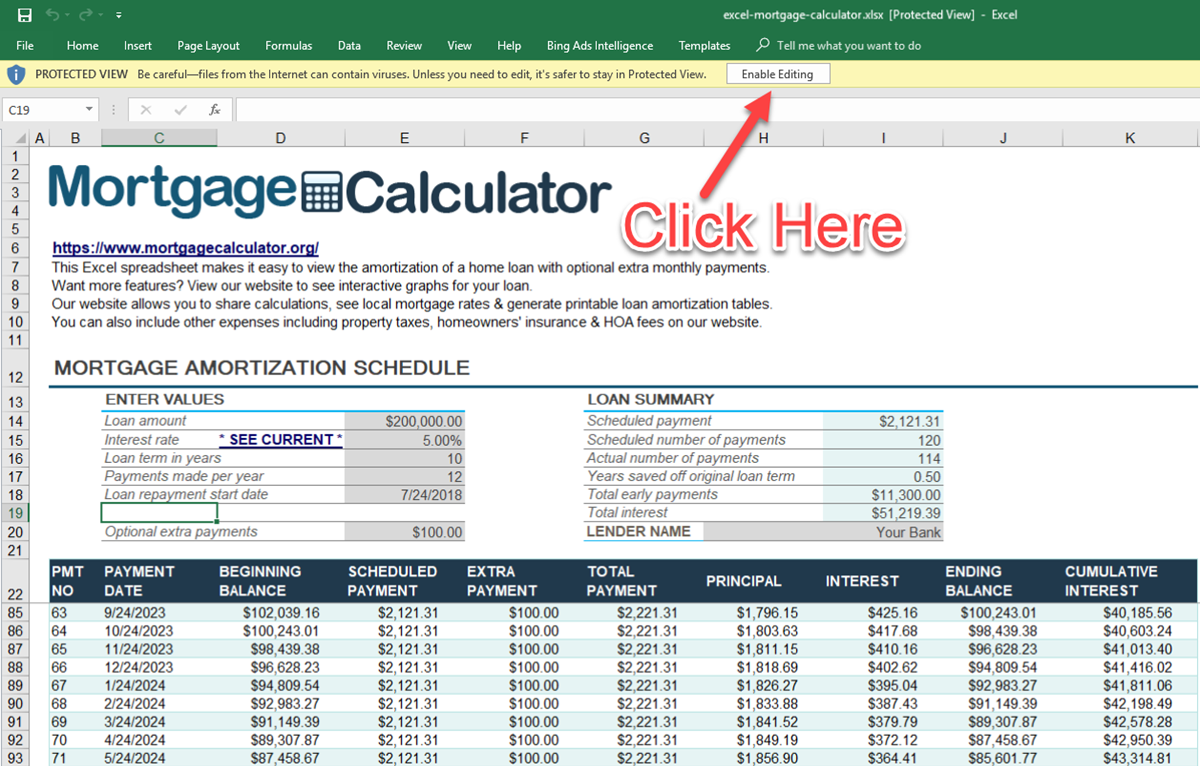 Download Microsoft Excel Mortgage Calculator Spreadsheet