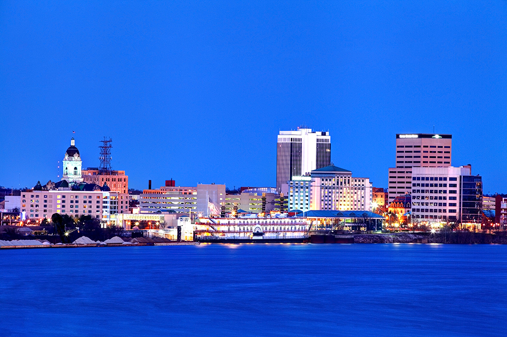 Evansville, IN Skyline at Night.