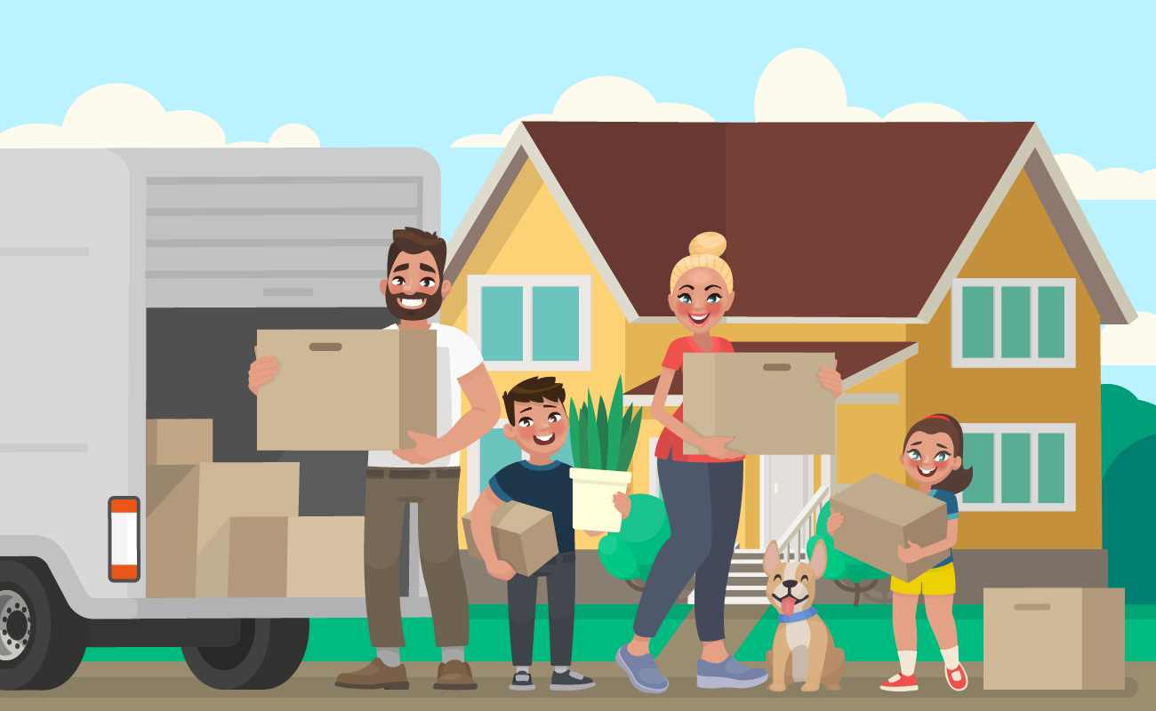 Family moving in to their new house.