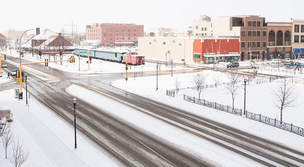 Downtown Fargo, North Dakota During Winter Snow.