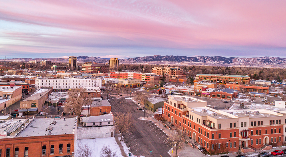 Aerial View of Downtown Fort Collins, Colorado.