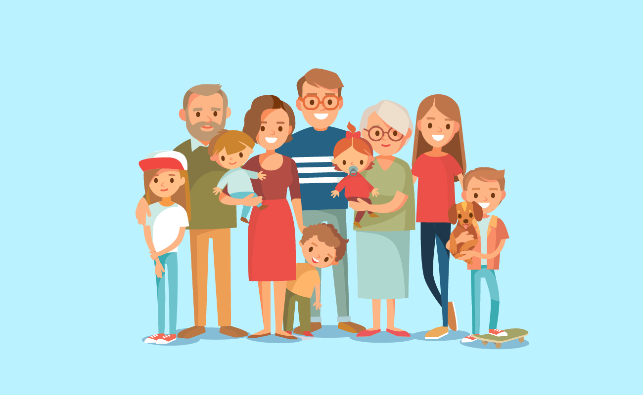 Happy family with grandparents.