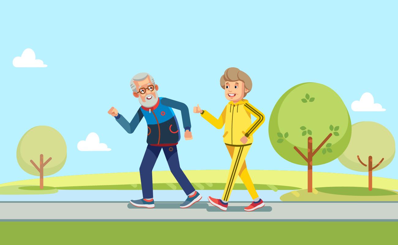 Happy Elderly Couple Jogging.