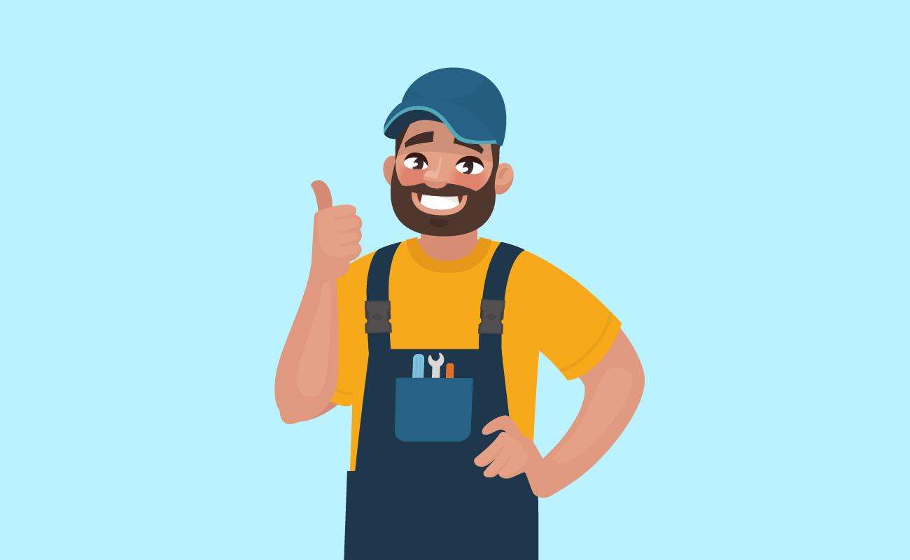 Illustration of a happy handyman.
