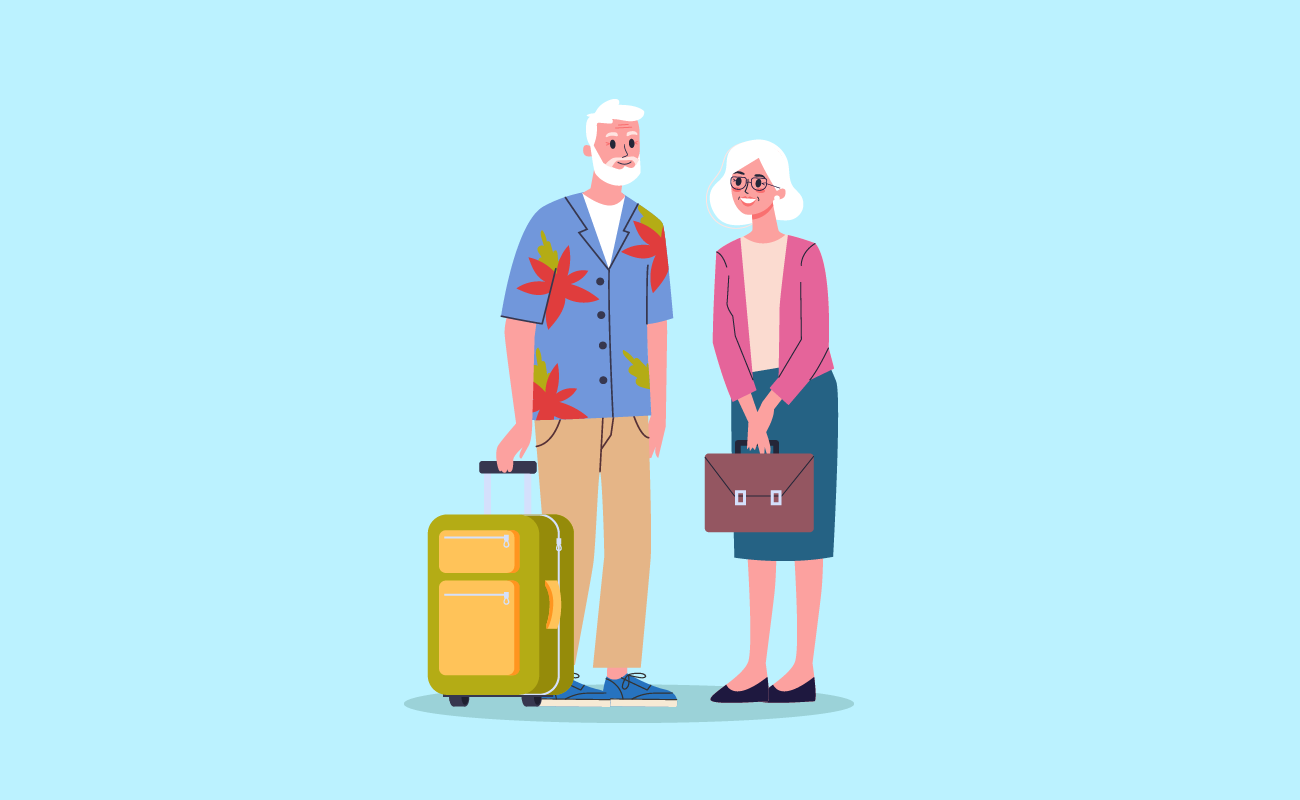 Happy retirees on a vacation.