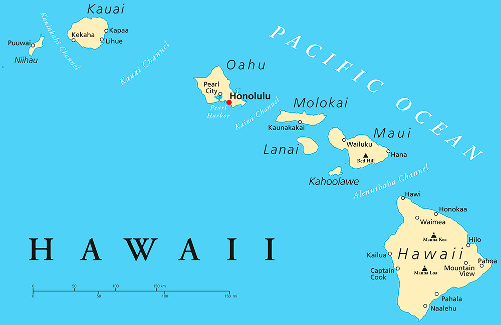 Hawaii State Map.