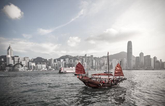 Boat in Hong Kong Harbour.