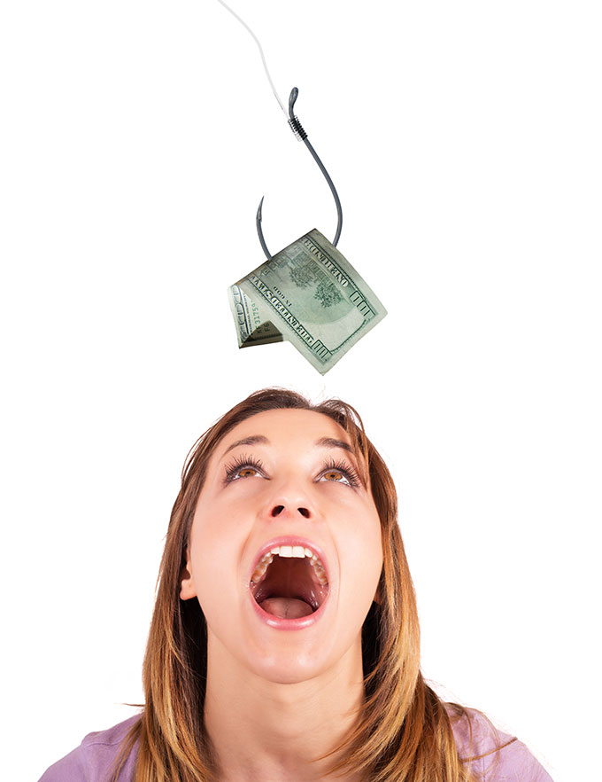 woman eating money on hook