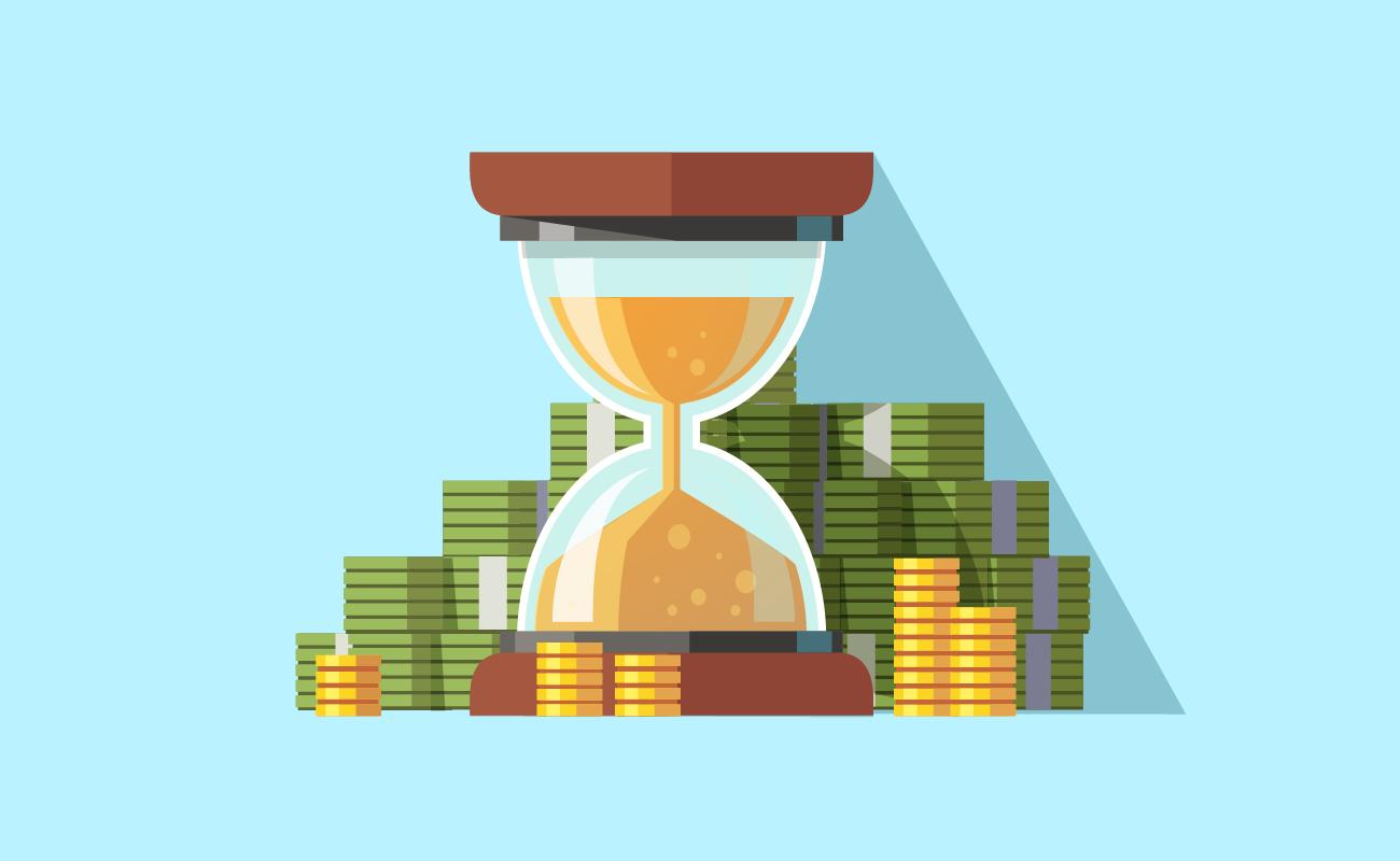 Hourglass and Money.