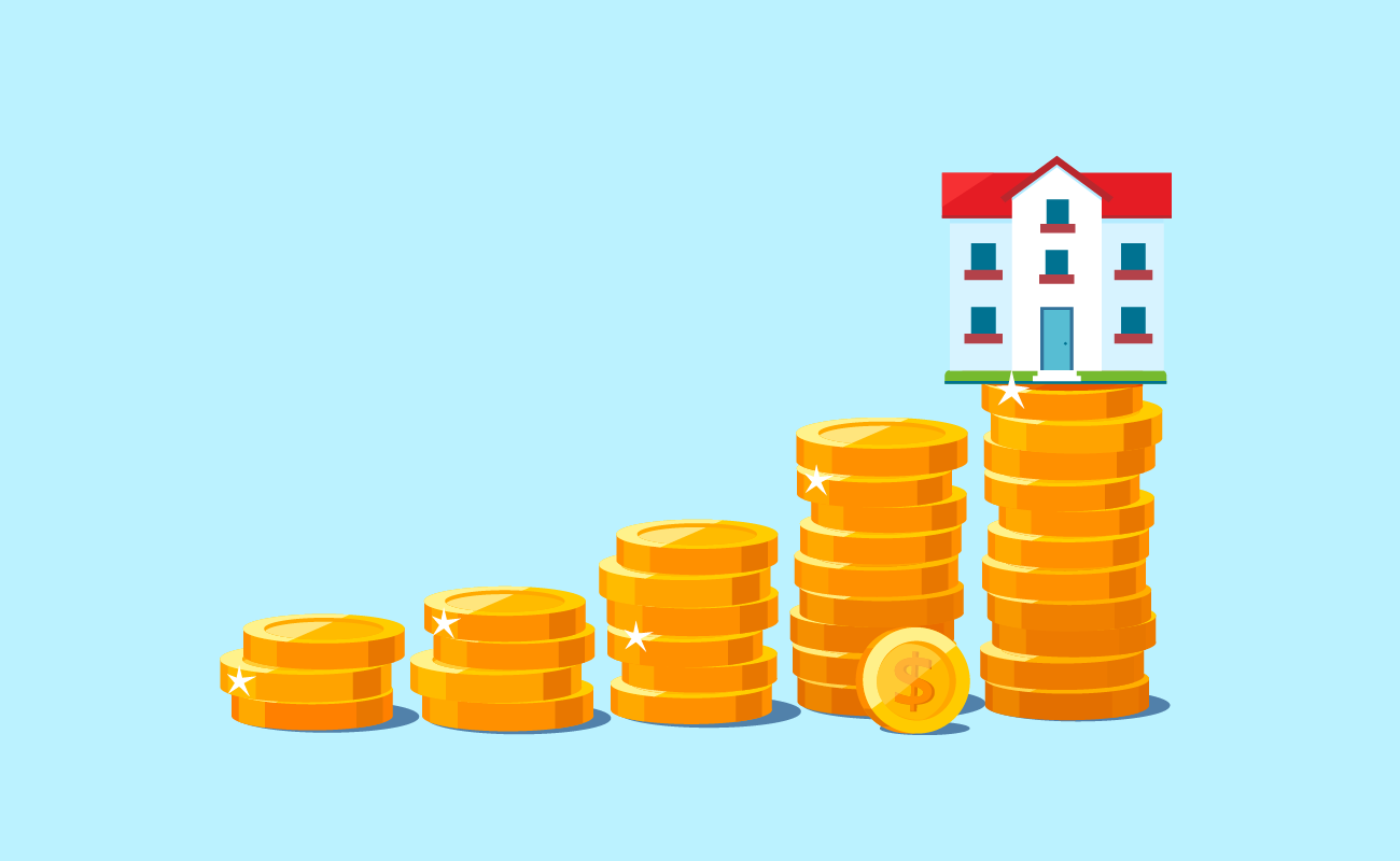 House on top of Stacked Coins.