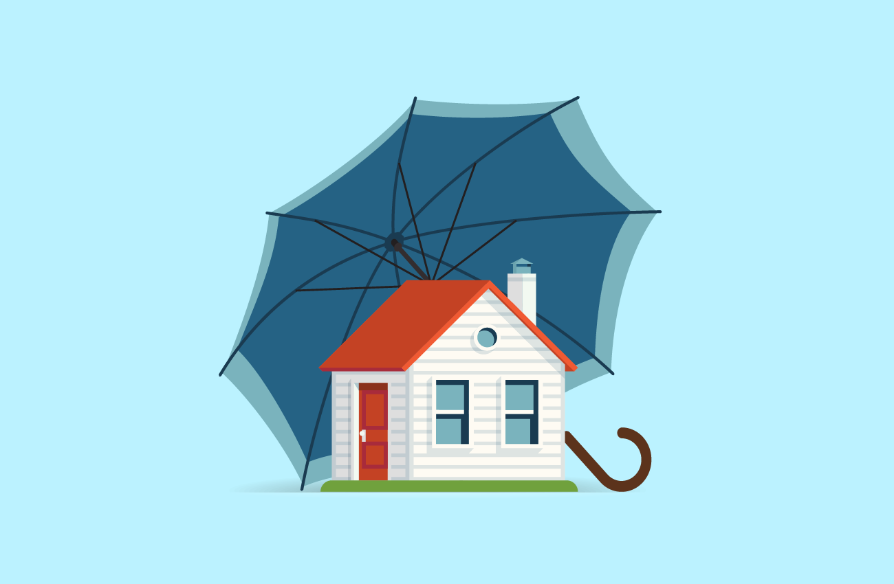 House Protected by a Large Umbrella.