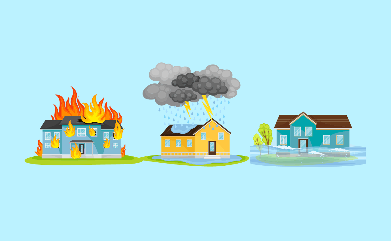 House showing different calamities.