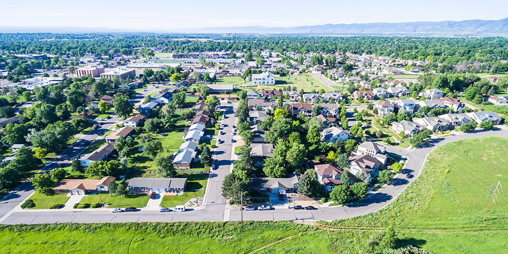 Aerial View of Lakewood, Colorado.