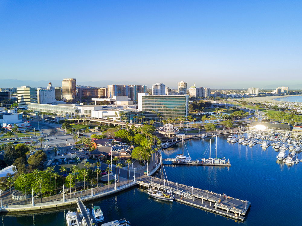 Aerial View of Rainbow Harbor in Long Beach.