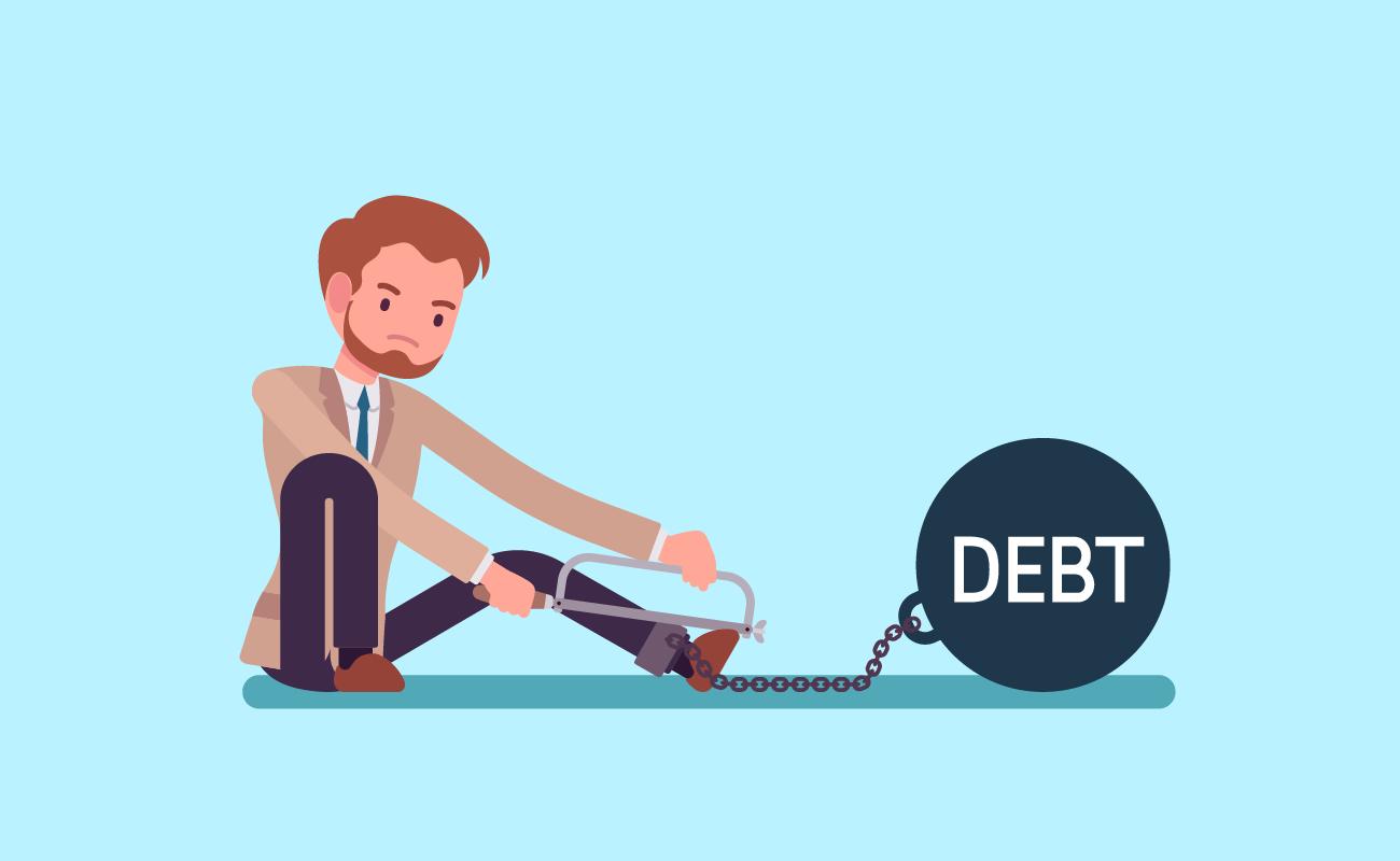 Man Breaking Away From His Debts.