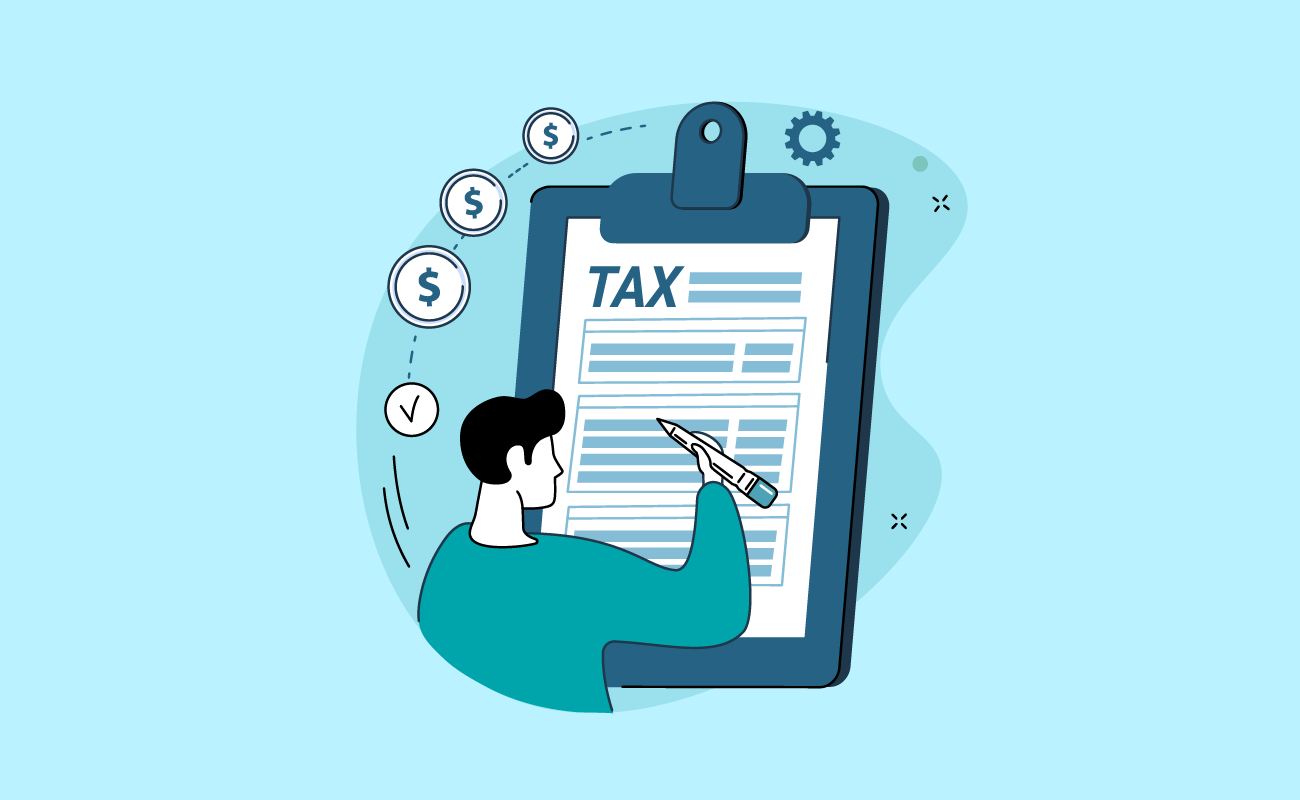 Man filing tax form.