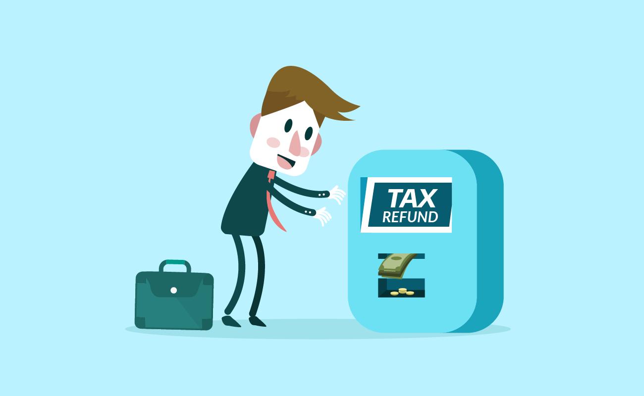 Man getting tax refund.