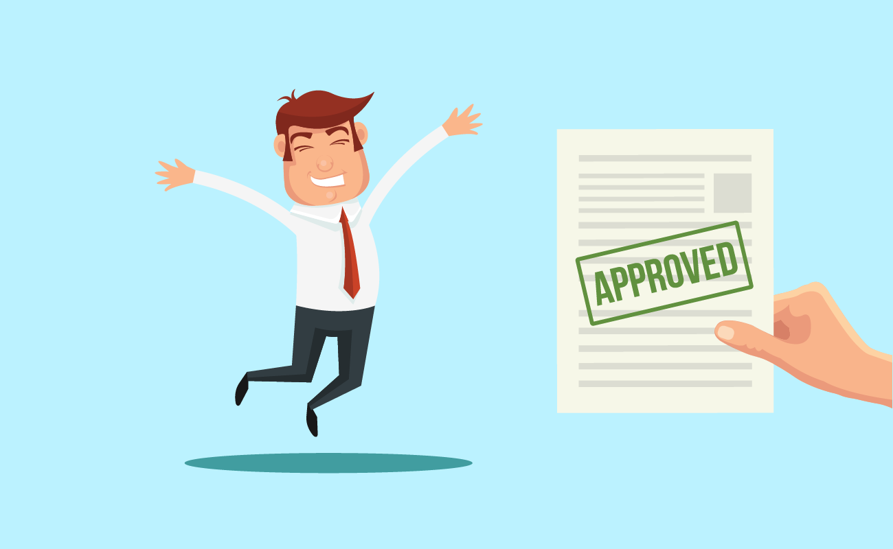 Man happy with his loan being approved.