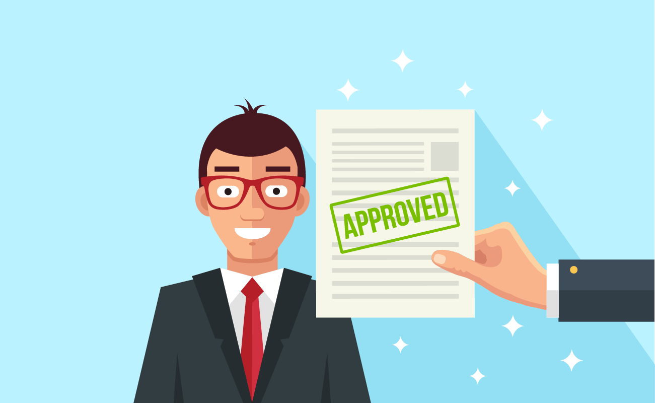 Man with an approved mortgage application.