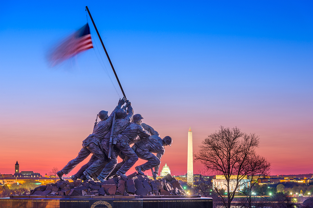 Marine Corps. War Memorial at Dawn.