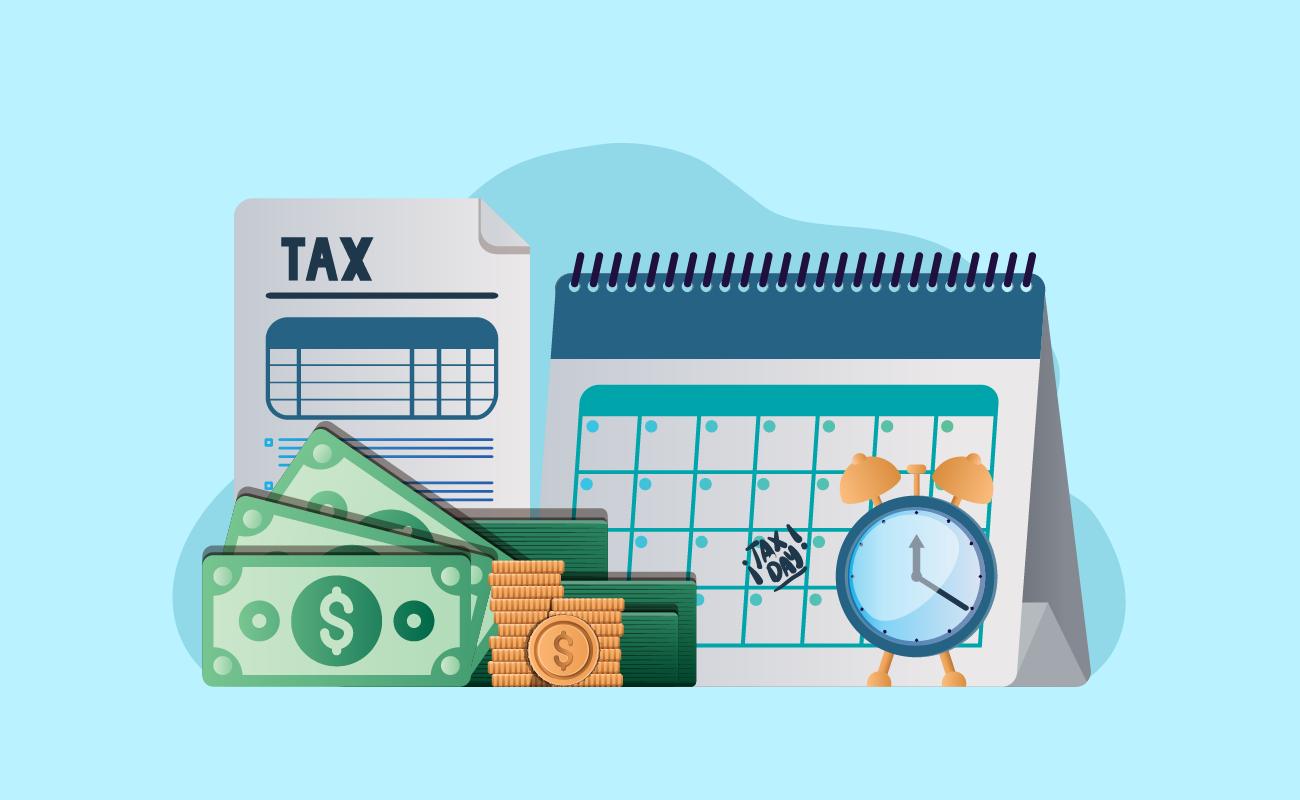 Money, calculator, calendar and tax forms.