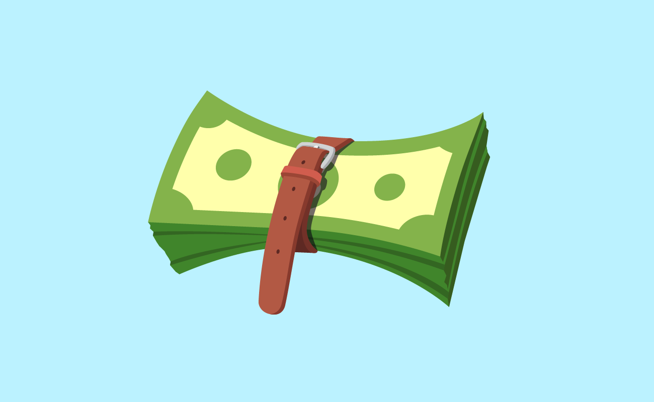 Stack of Money Wrapped by a Belt.