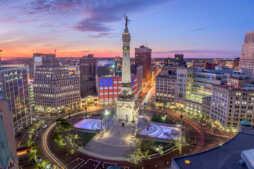 Monument Circle in Downtown Indianapolis.