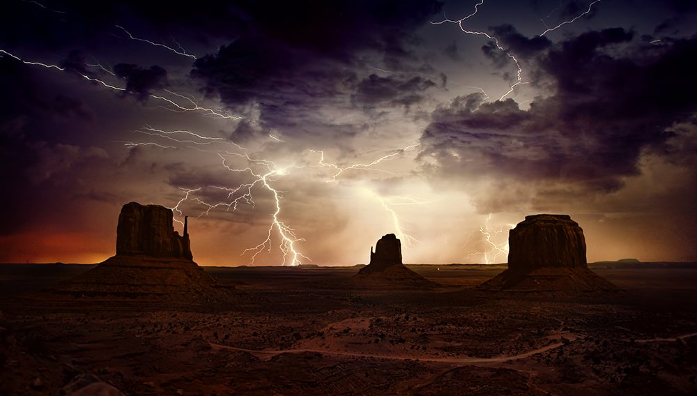 Lightning Hitting Monument Valley.