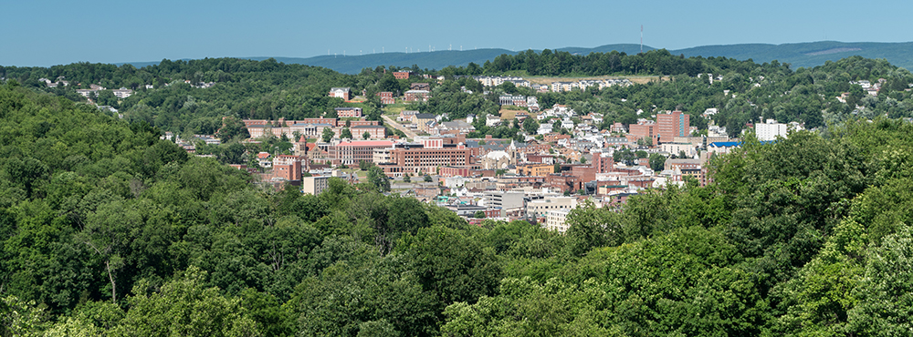 Aerial View of Morgantown, West Virginia.