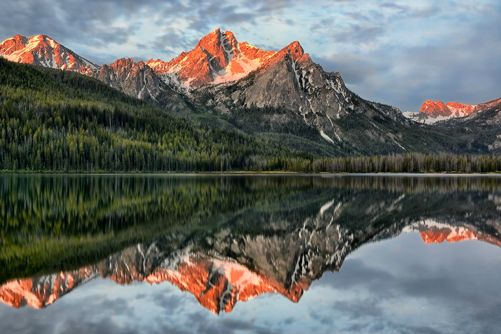 Sunrise over Mt. McGown Reflection on Stanley Lake.