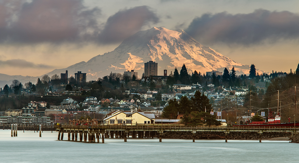 Mt. Rainier Over Tacoma Skyline.